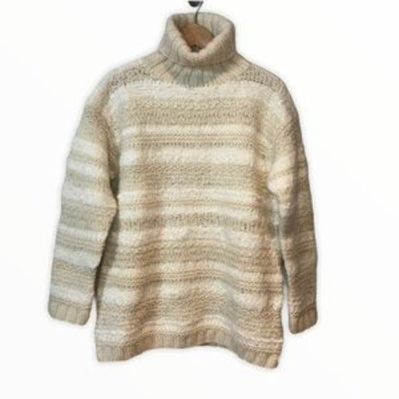 Cowl Neck Pull Over Sweater by Jones New York  Wool Acrylic Mohair Blend  Tag M  Tan Grays Black